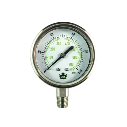 "Picture of PRESSURE GAUGE 100 PSI 2-1/2"" BOTTOM MOUNT SS"