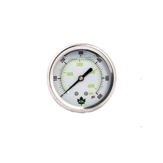 """Picture of GLYCERINE GAUGE 600 PSI 2.5"""" REAR OUT. SS"""