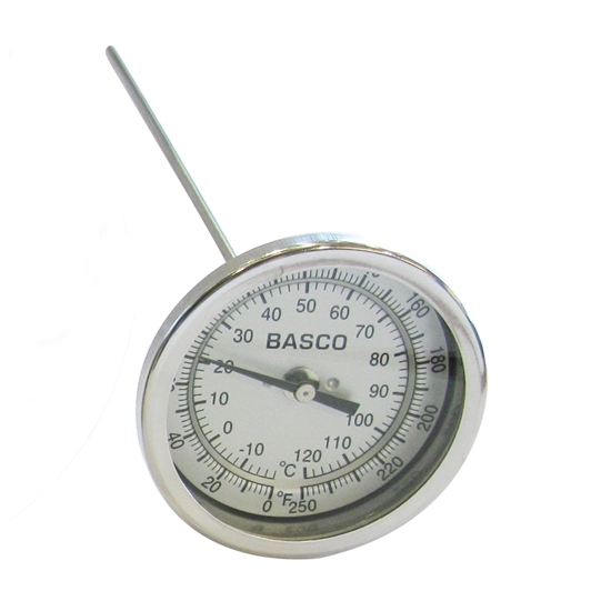 """Picture of THERMOMETER 3"""" X 6"""" (0-250°F) 1/2"""" MIPT"""